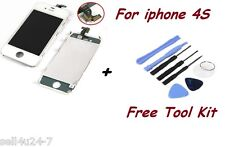 Replacement LCD Touch Screen Digitizer Glass Assembly for iPhone 4S White +Tools