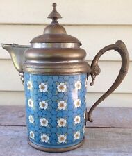 Victorian COFFEE POT chicken wire & flowers ENAMELED / GRANITEWARE and pewter ?