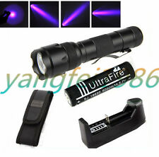 3W UltraFire WF-502B UV 395NM LED Flashlight Torch+18650 6000mAh Battery Charger