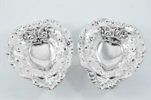 STUPENDOUS CHESTER HALLMARKED 1894 PAIR OF SOLID SILVER BON BON DISHES L@@K