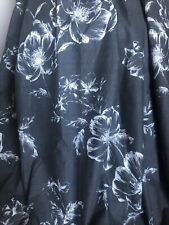 DUNELM Curtains Floral Roses Charcoal Grey & Ivory BLACKOUT Lined PAIR