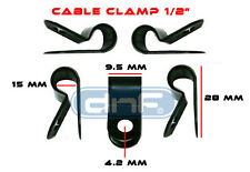 """100 PACK 1/2"""" BLACK NYLON UV WEATHER RESISTANT CABLE CLAMP - SHIPS FREE TODAY!"""