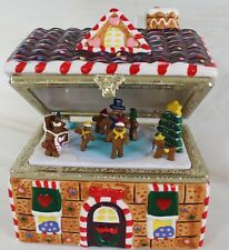 Mr Christmas Gingerbread Moving Music Box  We Wish You A Merry Christmas