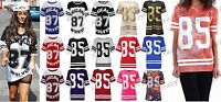 New Womens American Varsity Striped Oversize Baggy Style Ladies T-Shirt Top 8-26