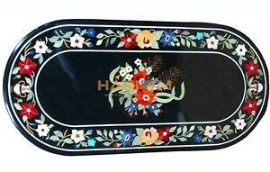 26''x52'' Black Marble Dining Oval Table Top Floral Marquetry Garden Decor B235