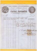 """CHAMALIERES (63) USINE de PATES ALIMENTAIRES """"FAURE & VACAREZE"""" en 1889"""