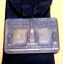 Antique 1923 Watch Fob Alliance, Ohio, Soldiers Memorial