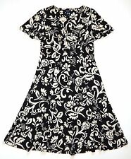 Chaps Black & Ivory Slinky Floral V-Neck Empire Dress Womens Size M New $90