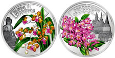 2011 Rwanda ORCHIDACEOUS DENDROBIUM SECUNDUM & VANDA TRICOLOR Silver Pr Coin SET