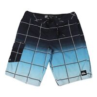 Quiksilver Mens Board Shorts Size 32 Striped Blue/Black Check Beach Surf Swim