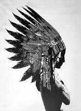 Framed BW Native Indian Girl War Bonnet Abstract Street Fine Art Print