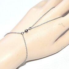 Chaîne de main bracelet bague acier inoxydable motif perle boule bijou A2