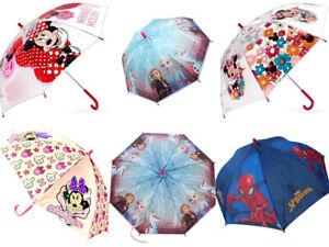 Kids Children Official Disney Umbrella Frozen Minnie Mouse Spiderman Rain School