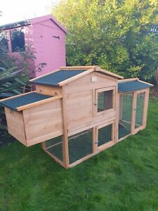 CHICKEN COOP + RUN 178CM HEN HOUSE POULTRY ARK HOME NEST BOX COOPS RABBIT HUTCH