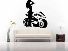 Wall Room Decor Art Vinyl Sticker Mural Decal Girl Lady Motorcycle Biker FI476