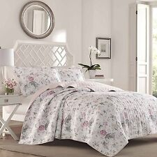 Pink/Gray Laura Ashley Shabby Chic 3 Pc Reversible Coverlet, Quilt Set/Queen