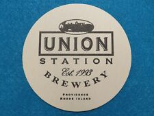 BEER Pub Coaster: UNION STATION Brewery ~ Providence RHODE ISLAND ~ Train Design