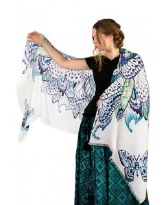 Blue Butterfly Hand-Painted Scarf, Shawl or Wrap, Silk & Cashmere Blend