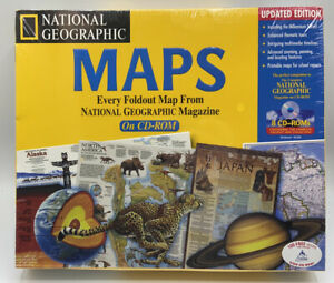 Vintage National Geographic Interactive Maps on 8 CD-ROMs New Sealed 1999