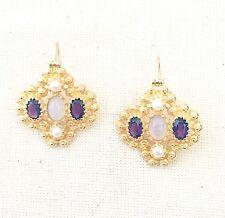 Gold Over 925 Silver Earring Tempting Pearl,Amethyst & Moonstone Vermeil 14K