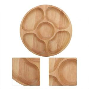 5 Divisions Storage Plate Rubber Wooden Round Separating Plate Dessert Snack