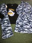 Nwt sharks 8 10 robe pajamas 3 pc set boys camouflage blu christmas hanukkah BTS