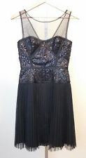 BCBG Maxazria Hazelle Black Dress Sheer Top Corset Style Sequins Pleated  Size 4