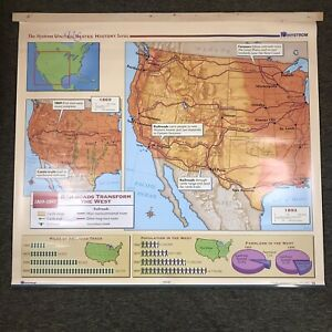 Nystrom US History Map School Wall Hanger Or Decor Railroads Transform The West