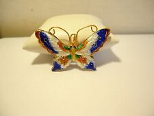 GOLD TONE ENAMEL BUTTERFLY CLOISONNE PENDANT NEW OLD STOCK BLUE ORANGE YELLOW