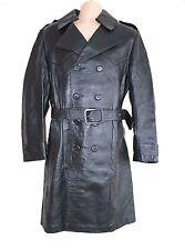 VTG Black 100% Real Leather CSL Fitted Knee Length Officer Men's Pea Coat Size M