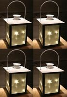 4x LED Metall Laterne mit 5 LED | 3D Holografie Lichterkette Sternenlicht Effekt