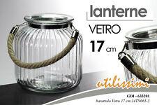 LANTERNA BARATTOLO PORTACANDELE IN VETRO 17 CM GDI-633201