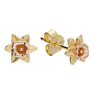9ct Gold on Silver Daffodil Ladies Stud Earrings