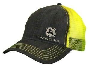 NEW John Deere Gray Unstructured Front Yellow Mesh Back Side Logo Cap LP73362