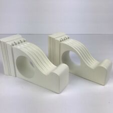 Wood Drapery Sconce Pair White 2 Inch Diameter Curtain Rod Holder