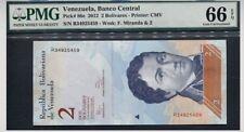 "2012 VENEZUELA BANCO CENTRAL 2 BOLIVARES ""MIRANDA"" PMG 66 EPQ GEM UNC R34925459"