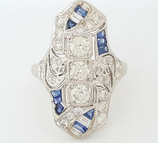 1.15 ct Vintage Antique 18K White Gold Sapphire & Old European Cut Diamond Ring