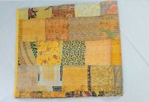 New Vintage Silk Embroidery Quilt Throw Blanket Twin Size Patchwork Kantha Quilt