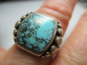 STERLING SILVER ESTATE VINTAGE SOUTHWEST BLUE TURQUOISE BALL BEAD RING SIZE 8.5
