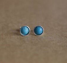 Turquoise Treated Stone Sterling Silver Fine Earrings