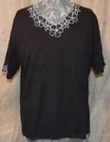 BONWORTH MACY'S  PRETTY EMBROIDERED FLOWERS W/CRYSTALS BLOUSE BLACK/WHITE XL