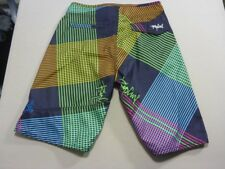 038 BOYS EX-COND RIP CURL REG FIT BLK / NEON GRAPHICS BOARSHORTS SZE 16 $70 RRP.