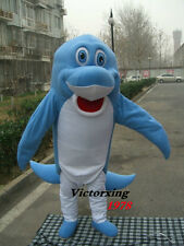 Happy Blue Dolphin Mascot Costume Fancy Cosplay Dress Free Shipping