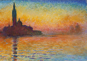 Vintage painting art claude monet artwork sunset wall decor poster canvas framed