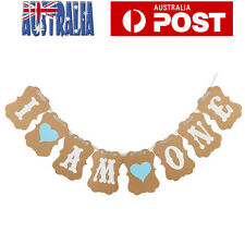 I AM ONE Banner Baby First Birthday Party Decor Bunting Garland Banner for Boys