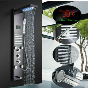 LED Black Shower Panel Column Tower w/ Body Jets Stainless Steel Bathroom Mixer