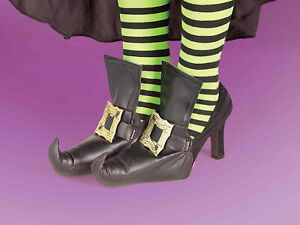Gold Buckle Witch Shoe Covers for Adult Halloween Costume Mens Womens One Pair