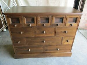 Pine Chest of Drawers, Apothecary Style, 13 Drawers, 118cm W, 94cm H