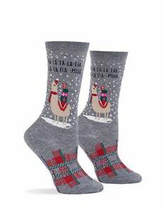 Hue Women's Holiday Gift Card Sock Charcoal Heather Llama