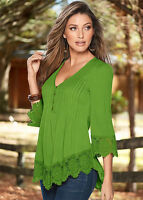 UK Fashion Womens Lace 3/4 Sleeve V Neck T-Shirt Ladies Casual Loose Tops Blouse